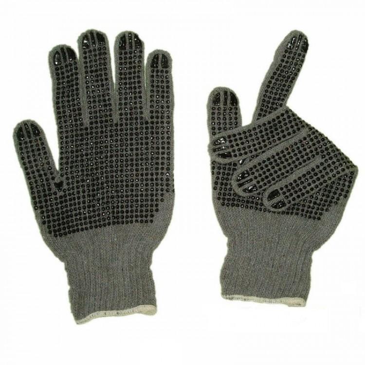 Перчатки вязанные с ПВХ-точкой (серые)