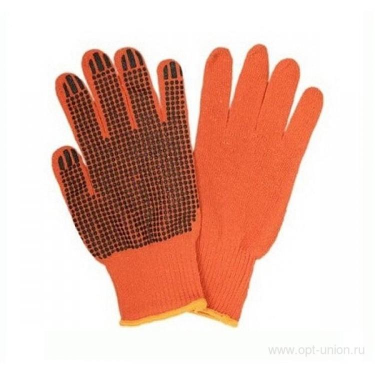 Перчатки рабочие х/б оранжевые с ПВХ-точкой