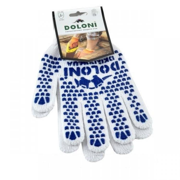 Перчатки  DOLONI №577  рабочие с ПВХ-точкой, белые размер 10