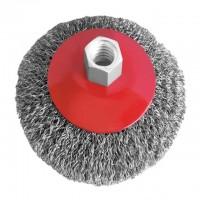 Щетка для ушм конусная 100мм М14 рифленная проволока INTERTOOL