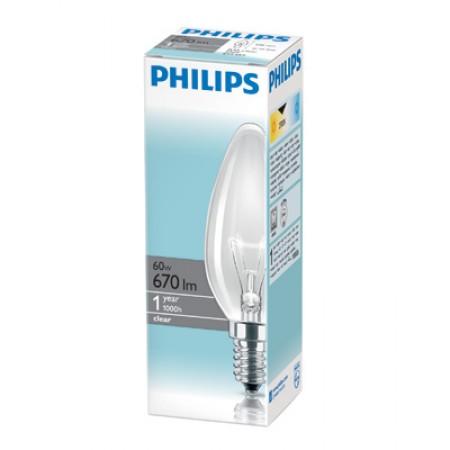 Лампа свеча PHILIPS Е14 60 Вт.