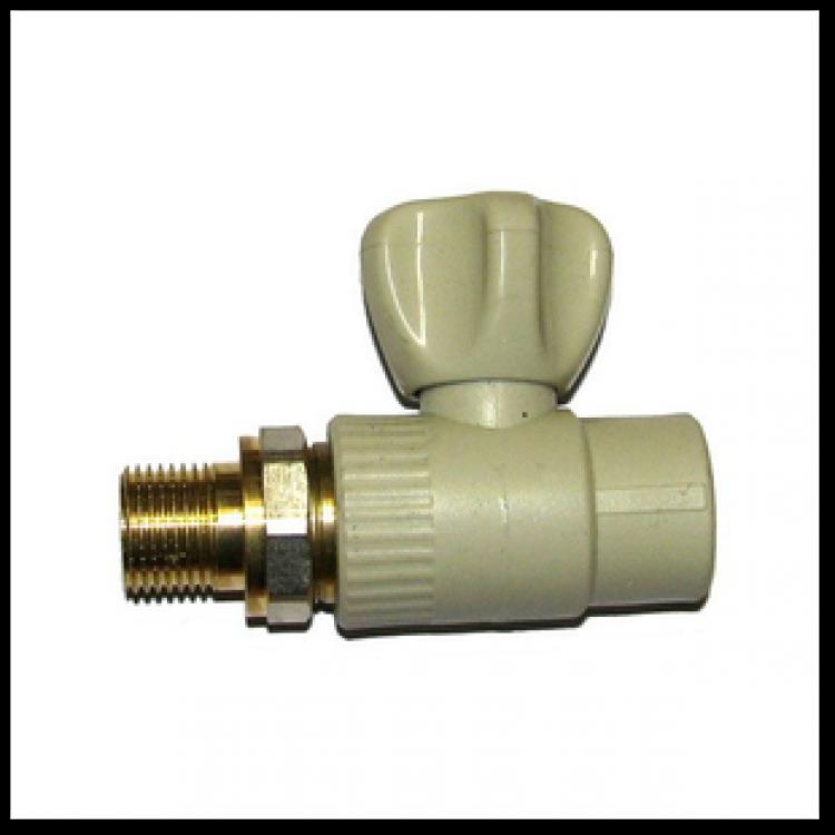 Кран радиаторный прямой полипропиленовый с американкой 20х1/2Н