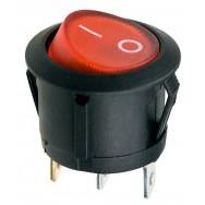 Кнопка трехконтактная круглая красная
