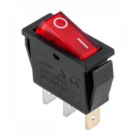Кнопка трехконтактная узкая красная