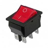Кнопка шестиконтактная широкая красная