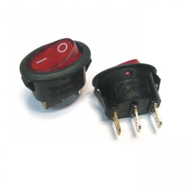 Кнопка трехконтактная овал красная