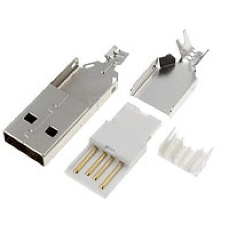 USB штекер тип А разборной под шнур без корпуса