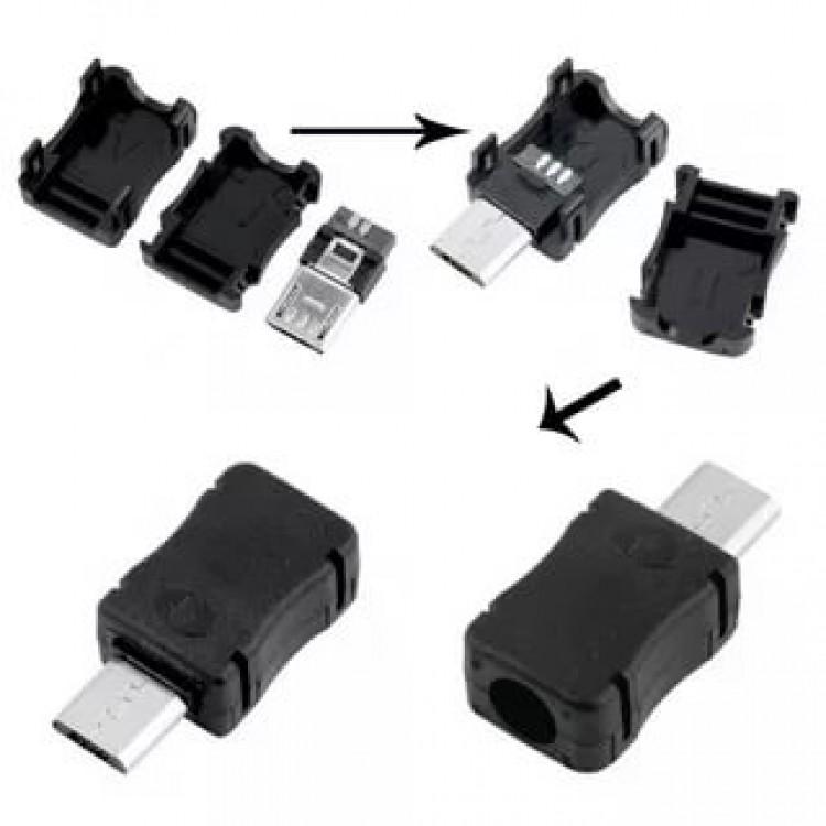micro usb штекер под шнур пластик