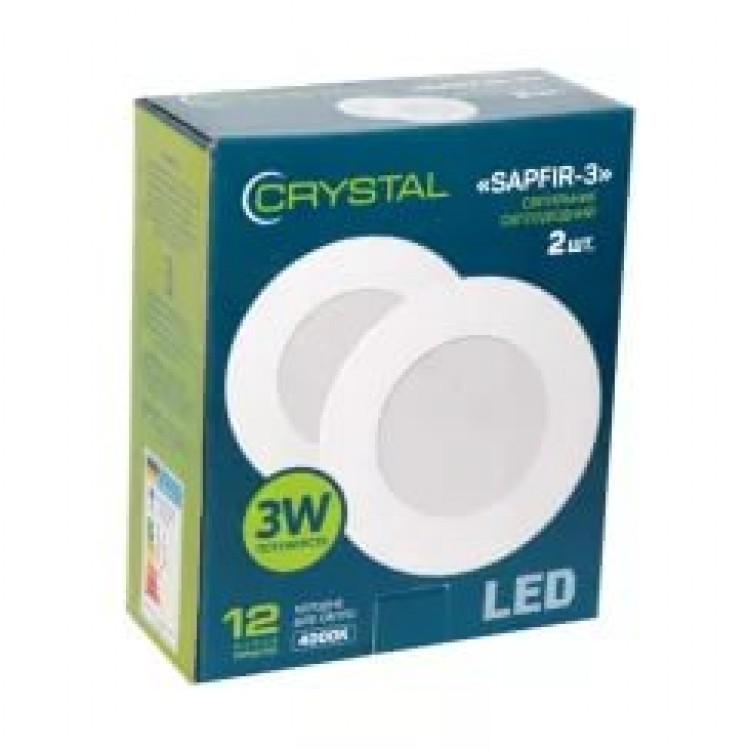 Светильник светодиодный встраиваемый LED SAPFIR 3W Slim круг 4000K CRYSTAL