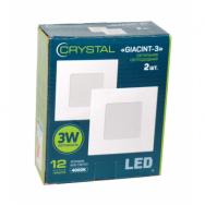 Светильник светодиодный встраиваемый LED GIACINT 3W Slim квадрат 4000K CRYSTAL