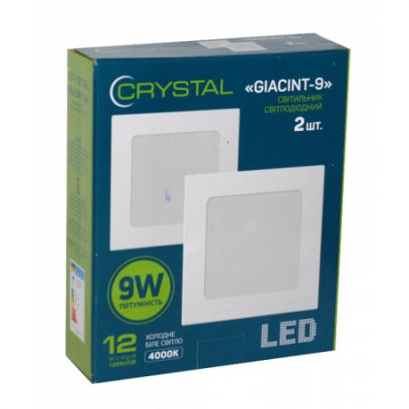 Светильник светодиодный встраиваемый LED GIACINT 9W Slim квадрат 4000K CRYSTAL