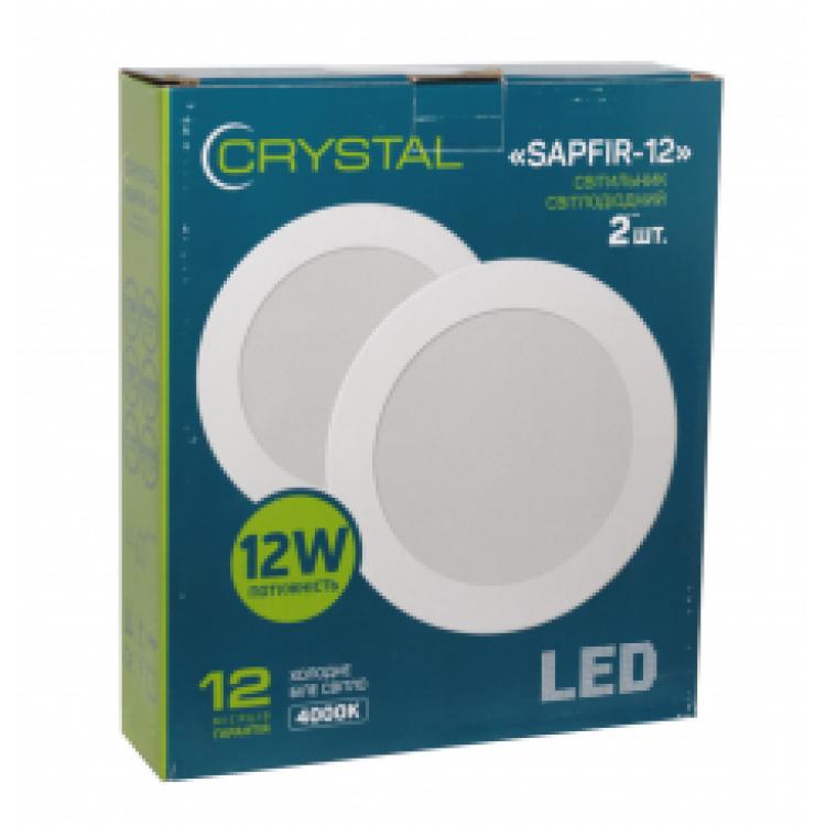 Светильник светодиодный встраиваемый LED SAPFIR 12W Slim круг 4000K CRYSTAL