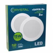 Светильник светодиодный встраиваемый LED SAPFIR 15W Slim круг 4000K CRYSTAL