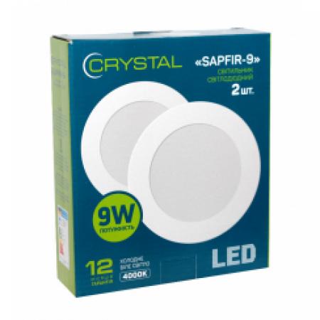 Светильник светодиодный встраиваемый LED SAPFIR 9W Slim круг 4000K CRYSTAL