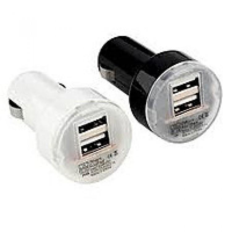 Автомобильная зарядка USB 2 гнезда 3,1А от прикуривателя белая