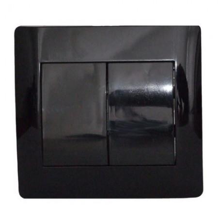 Выключатель двухклавишный черный глянец oscar lxl