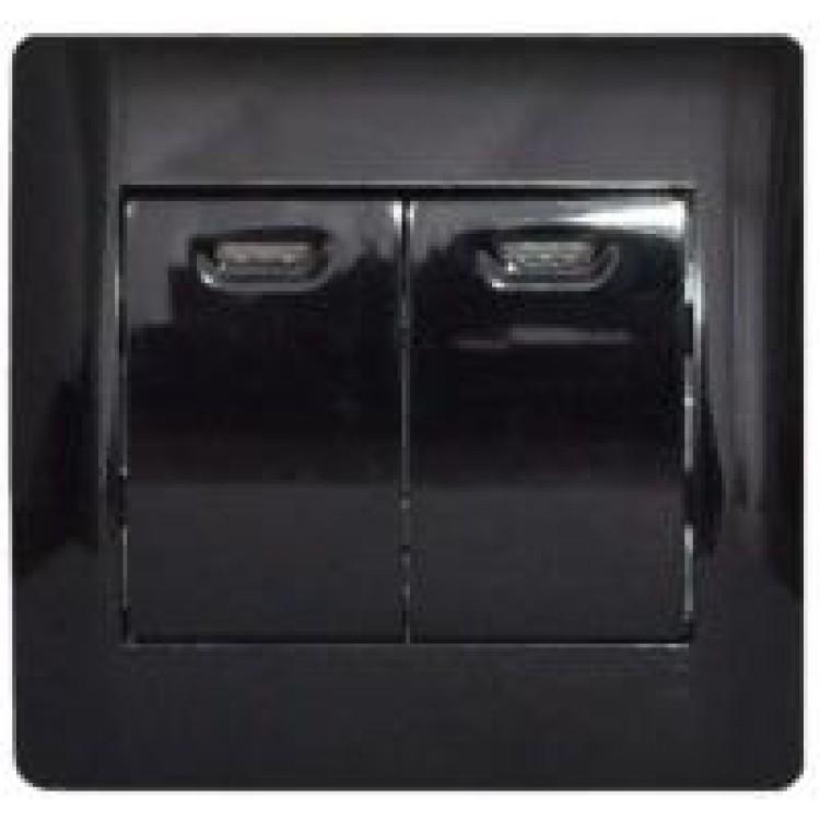 Выключатель двухклавишный с подсветкой черный глянец oscar lxl