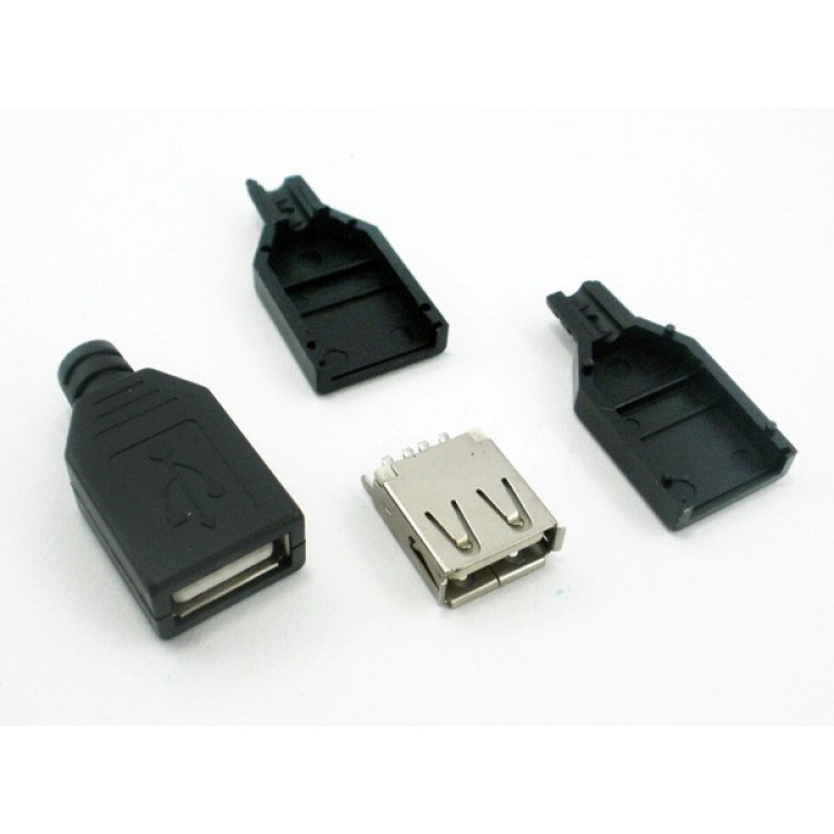 USB гнездо 2.0 тип А кабельное разборное в пластиковом корпусе