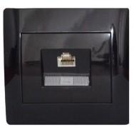 Розетка компьютерная одинарная (RJ45 Cat5e) черный глянец oscar lxl