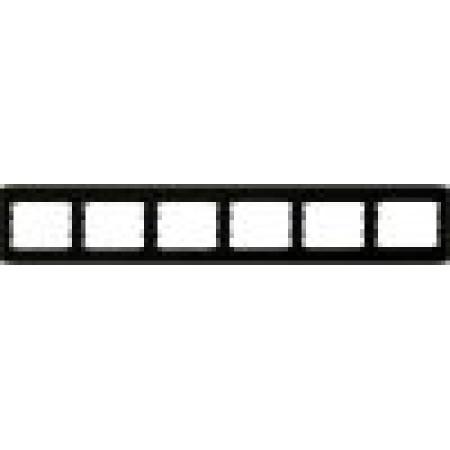 oscar lxl Шестерная горизонтальная рамка  черный глянец