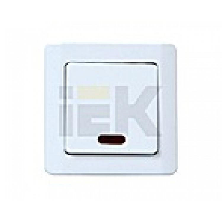 Легата ИЕК  Выключатель одноклавишный с подсветкой крем