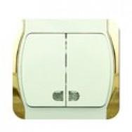 ALFA INCI Выключатель двухклавишный с подсветкой