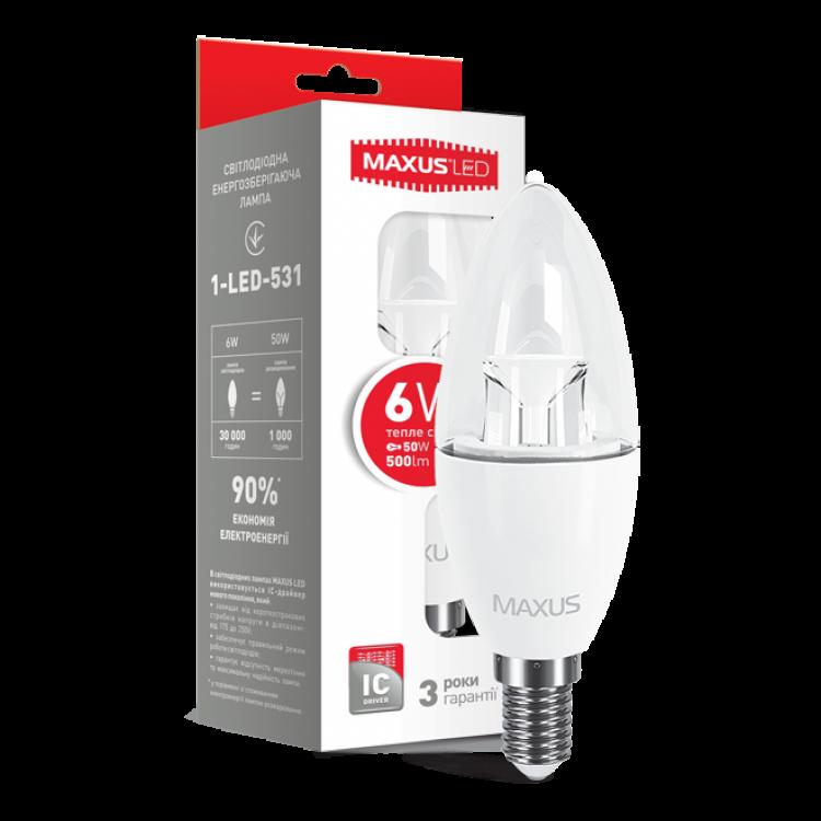 Cветодиодная лампа MAXUS C37 6W мягкий свет 220V E14 (1-LED-531)