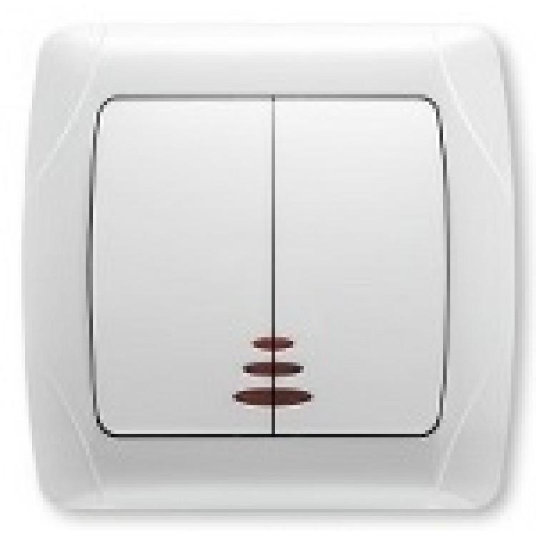 Выключатель двухклавишный с подсветкой VIKO CARMEN