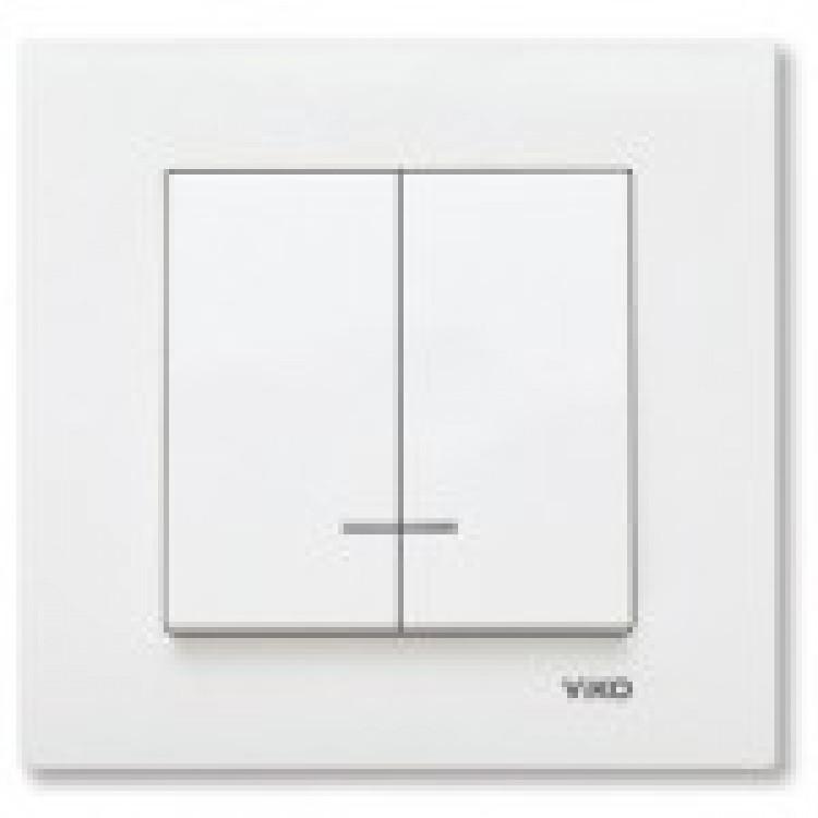 Выключатель двухклавишный с подсветкой VIKO KARRE